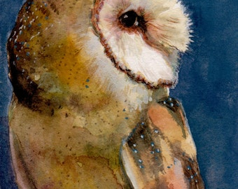 ACEO ATC Tyto Alba Feathers Woodland Owl Bird in Profile Watercolor Print DelPesco