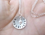 eucharisteo - Custom Hand Stamped Domed Sterling Silver Necklace with tiny vintage pearl - 3/4 inch disc