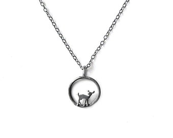 Circle Deer Necklace with Dark Grey Finish Fawn in a circle charm