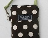Padded Gadget Pouch Bag iPhone Flip Camera Blackberry cellphone- Brown Dot