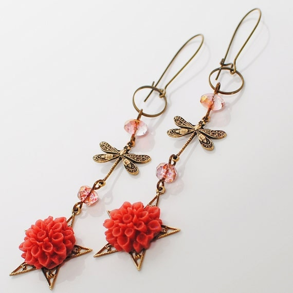 Rose Dragonfly Dangle Flower Earrings Zinnia Zingerflies