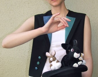 Magician's Assistant Vest in black wool and hand dyed blue and green silk satin