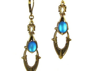 Art Deco Style Drop Earrings in Brass with Vintage Cerulean Blue Glass Cabochons