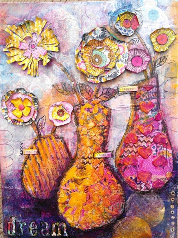 SALE Original Floral Mixed Media Painting Smile Inspire and Express Folk Art Flower Still Life Painting