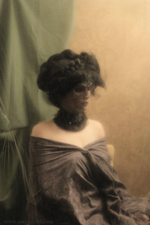Portrait of a Lady 2 - FREE SHIPPING Surreal Photo Print Haunting Image Dark Art Creepy Woman Girl Death Face Skull Macabre Orange Green
