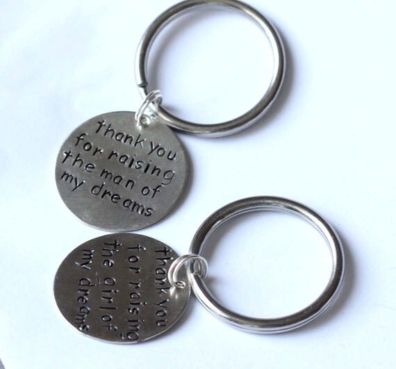 Set of 2 -Thank You For Raising The Man and Girl of My Dreams - Father In Law Set of Key Chains - Wedding Gift SET