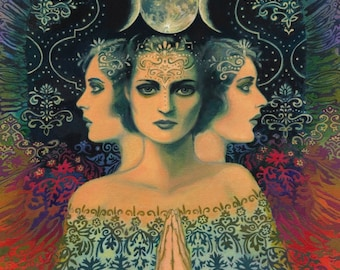 Moon Goddess of Mystery Psychedelic Tarot Art ACEO Print