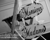 MADAME AND MONSIEUR Chair Hangers, Wedding Signs, Reception Decor, Vintage Wedding Signs