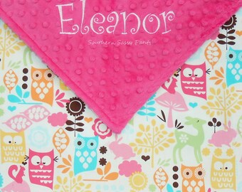 Personalized Baby Girl Blanket - Forest Animals and Minky Dot - You Design