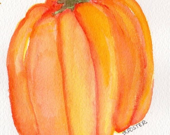 Bell Pepper original watercolor Painting, 4 x 6, Vegetable art, culinary painting, culinary watercolor, Yellow Orange Pepper, kitchen decor