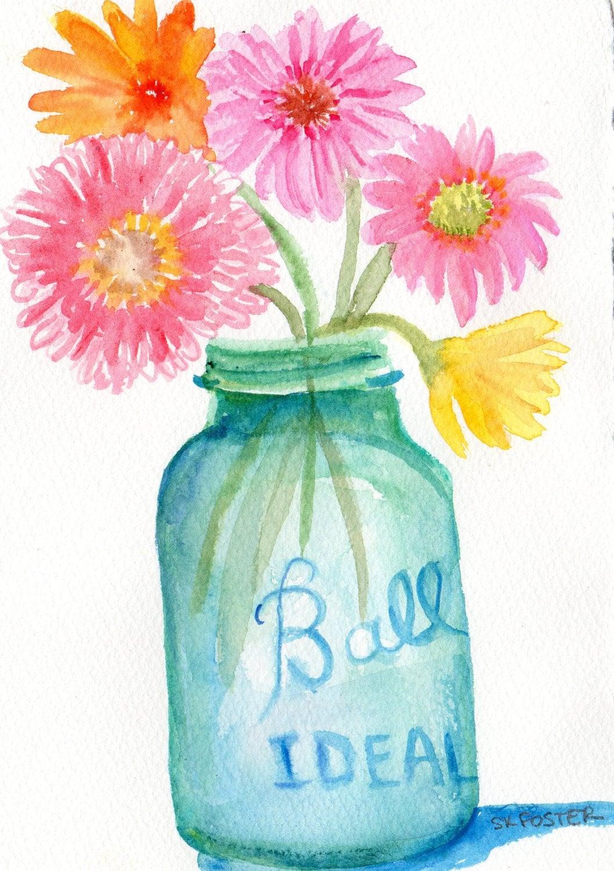 Gerbera Daisies In Aqua Canning Jar Watercolor Painting 5 X