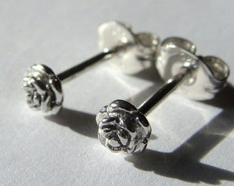 Tiny Rose Studs Rose Earrings Flower Studs Sterling Silver Post Earrings Stud Earrings