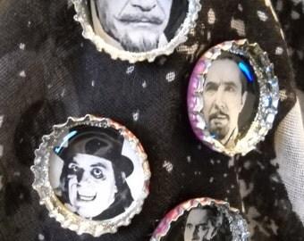 Classic Men of Horror Set 1 Upcycled Bottlecap Magnets Set of 4