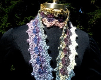 Shell Stitch Crocheted Scarf  Blue Purple Gold Green
