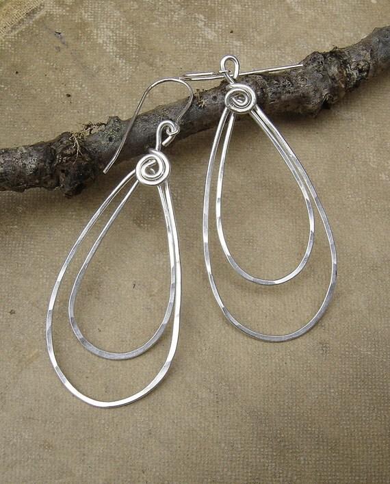 Sterling Silver Double Teardrop Earrings, Long Silver Earrings, Teardrop Hoop Earrings, Hammered Wire Dangle Earrings, Silver Hoops, Women