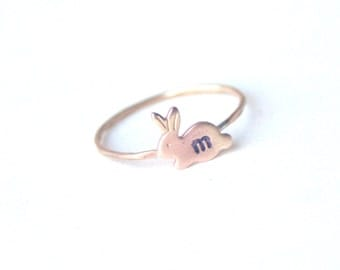 Personalized Initial Little Bunny Ring
