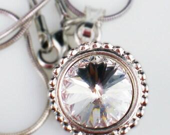 Crystal Rivoli Rhinestone Necklace Swarovski Wedding Jewelry Bridesmaid Jewelry