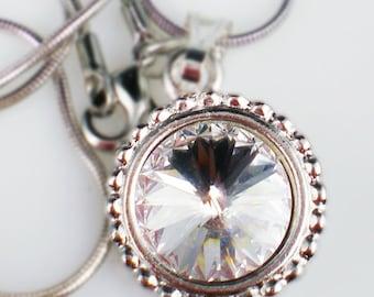 SALE Crystal Rivoli Rhinestone Necklace Swarovski Jewelry