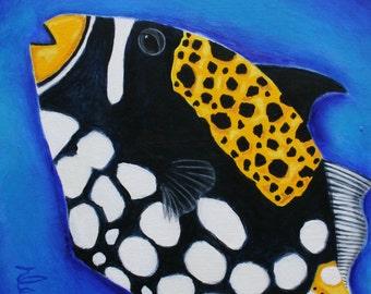 Clown Fish original painting shabby chic beach art 6X6 painting on wood