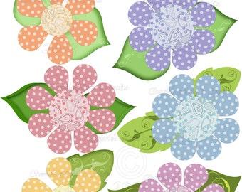 Instant Download, Paisley Flowers, Digital Download, Floral Clip Art Graphics, Flower Art, Set of Six Graphics