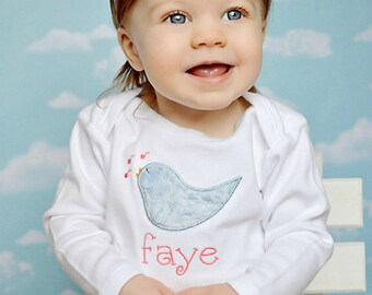 Personalized Bodysuit or Toddler Shirt Singing Bluebird Applique for Baby Girls