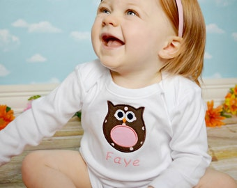 Personalized Bodysuit or Toddler Shirt Owl Applique for Baby Girls