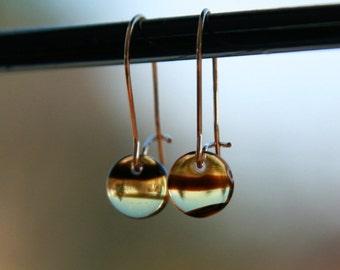 teeny tiny tortoise lentil earrings (tortoise shell patterned glass. 14kt gold filled wire)