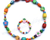 Little Girls Colorful Chunky Wood beaded necklace and bracelet set Strawberries, Flowers, Ladybug beads