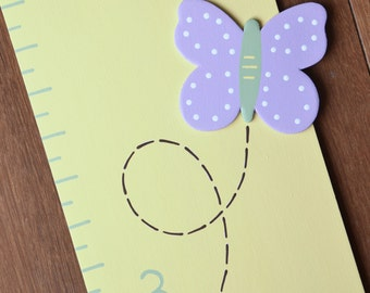 Sophia Butterflies Wooden Growth Chart in Light Yellow, handpainted, FREE nail cover and personalization