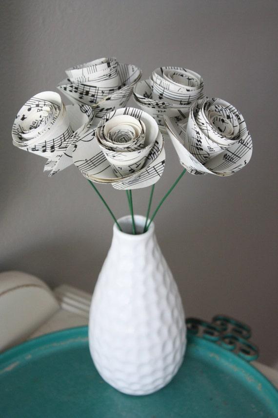 Items similar to large paper rose flowers repurposed for Paper roses sheet music free
