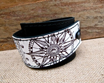 Leather Cuff Wrap Bracelet, Equinox Print in Black & White