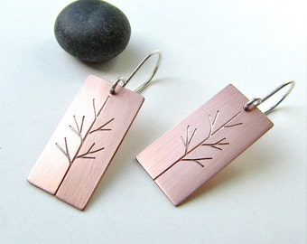 Copper Sapling Copper Tree Art earrings - made to order