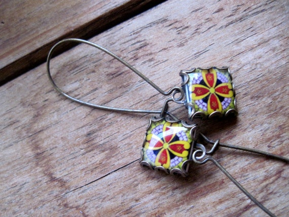 Whimsical earrings mexican tile design in minature by for Native american tile designs