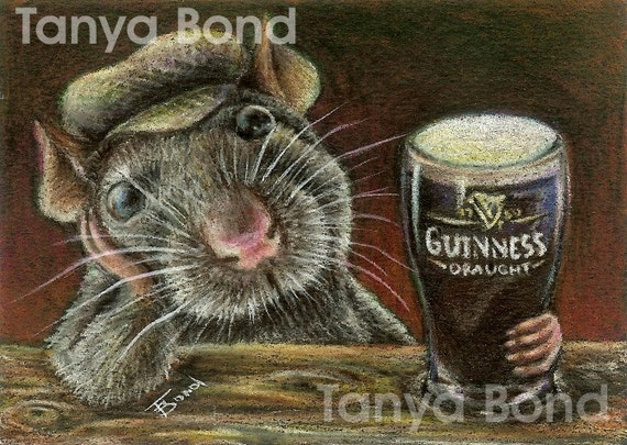 Paddy the rat drinking Guinness in a quiet pub - a perfect gift for father's day