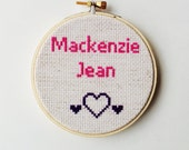 Personalized Baby Gift Cross Stitch Hoop Art