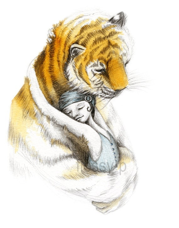 TigerHug, A4 Art Print -  by flossy-p, Tiger hugging girl, Life of Pi