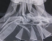 Wedding Veil Pencil Edge Trim Cascading Cathedral Bridal Veil with a Mantilla Blusher