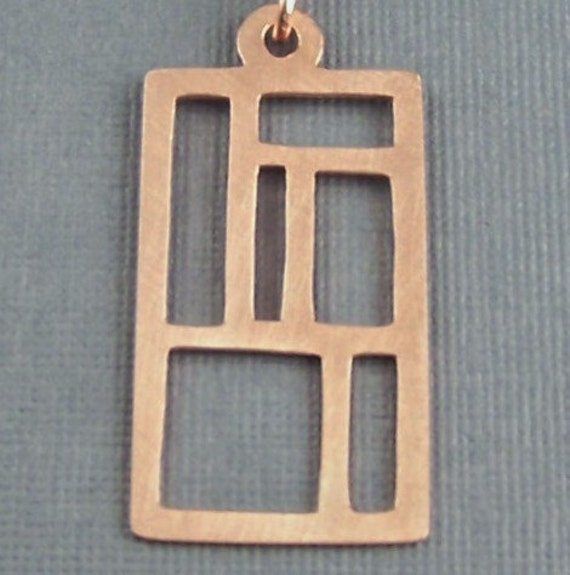 Rectangles Modern Copper Pendant