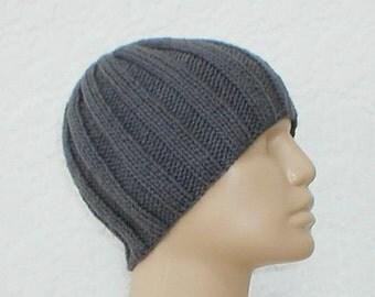 Charcoal grey ribbed beanie hat, skull cap, knit toque, grey hat, beanie hat, ski snowboard, skateboard, hiker runner biker, mens womens hat