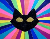 "SPACE CAT - Original Large Acrylic Painting - Galactic Neon Rainbow Magicalness - 36"" x 24"""