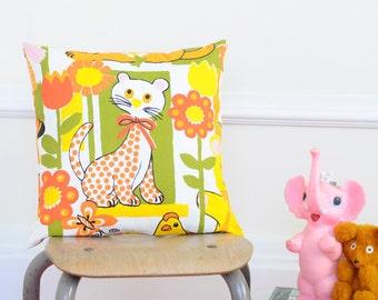 SALE Vintage Creatures Handmade Pillow Cover   Kids or Nursery Room Decor