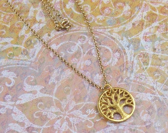 Gold Tree of Life Necklace Charm Pendant Chain DJStrang Boho Chic