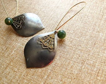 Long Dangle Earrings Silver Gunmetal Tribal Shield with Brass Filigree detail Charms and Jade Green Beads