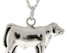 Stock Show Steer Charm in Sterling Silver - Free Chain