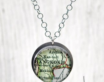 CUSTOM Antique Map Pendant Recycled Silver on Sterling Circles Chain