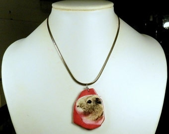 Handmade Red Agouti Shorthair GUINEA PIG Pendant with Silver Serpentine Necklace OOAK