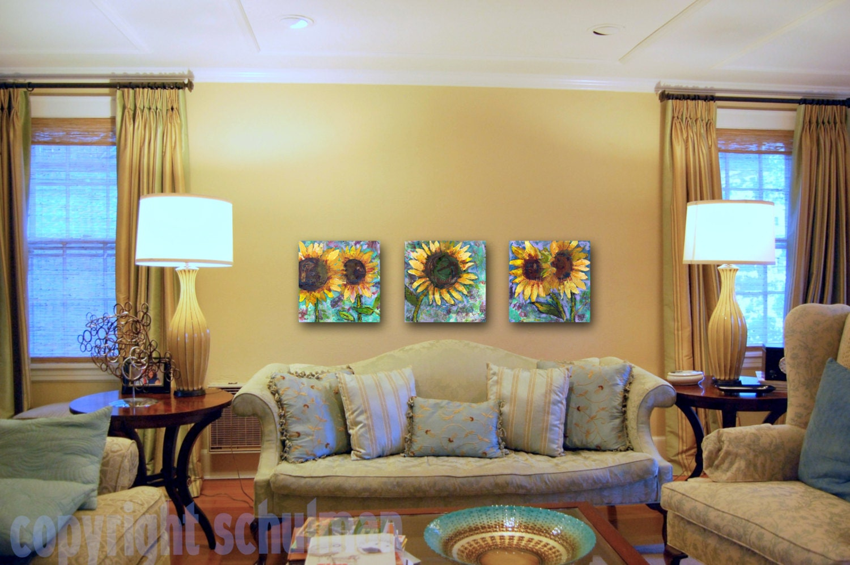 sunflower art on canvas triptych modern wall art by sunflower home decor decorating ideas