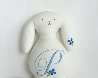 White Cotton Bunny with  Blue Monogram and Small Blue Flower