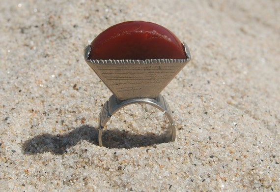 Old Silver and Carnelian Sahara Ring