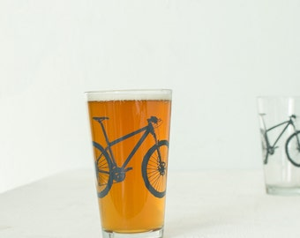 MOUNTAIN BIKE PINT glasses screenprinted bike glassware